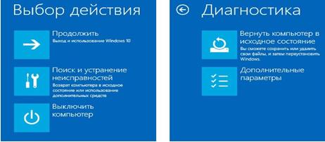 Безопасный режим Windows 10. Окно выбора действия.
