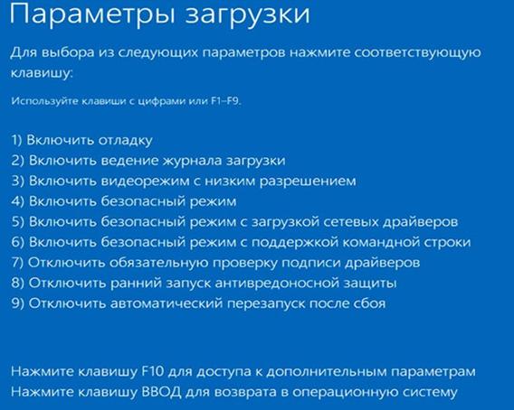 Безопасный режим Windows 10. Выбор загрузки