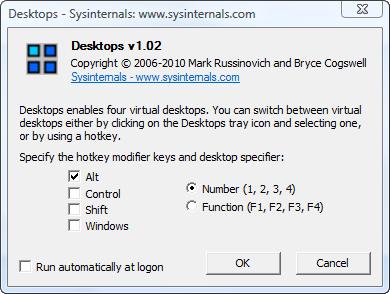 Окно программы Desktops v2.0.