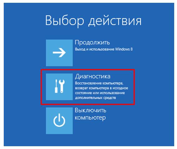 Безопасный режим Windows 8. Выбор действия.