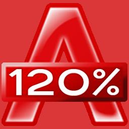 Чем открыть ISO. Логотип программы Alcohol 120%.
