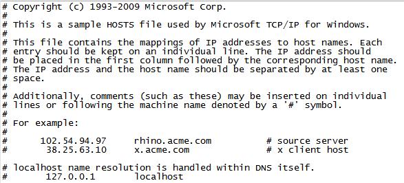 Файл hosts Windows 7. Скриншот файла hosts.