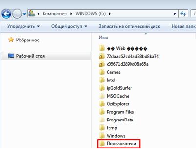 Как найти папку appdata. Окно Диска С.