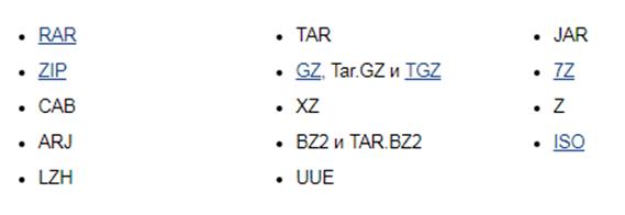 Как открыть  zip файл. Скриншот   поддержки разных форматов архивов программой  WinRAR.