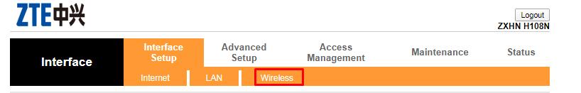 Как поменять пароль на WiFi. Окно настройки роутера zte. Вкладка Wireless.