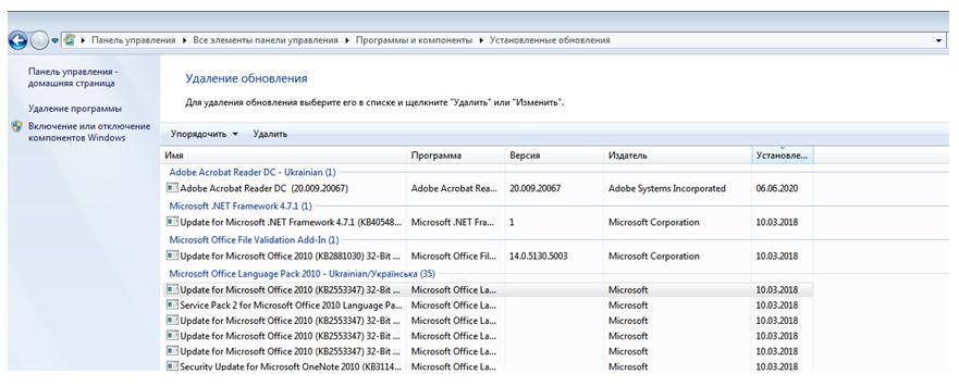 Как удалить обновления Windows 7. Окно установленные обновления.