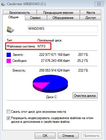 Как установить Windows 10 на ноутбук. Окно свойства диска.