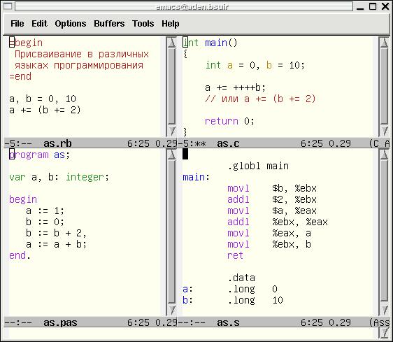 Команда присвоить. Конструкции присвоения в различных языках программирования.