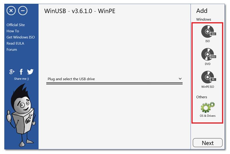 Мультизагрузочная флешка. Окно программы WinUSB.