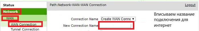 Настройка роутера ZTE. Графа New Connection Name.