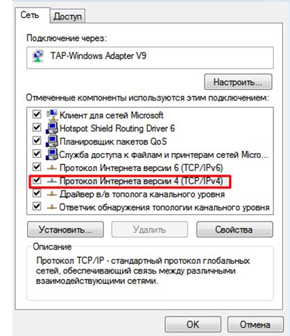 Настройка сети Windows 7. Окно свойства сетевого адаптера.