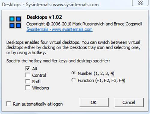 Несколько рабочих столов Windows. Окно программы Desktops v2.0.