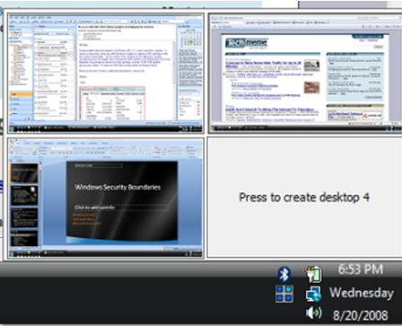 Несколько рабочих столов Windows.Окно программы Desktops v2.0. Скриншот 2.