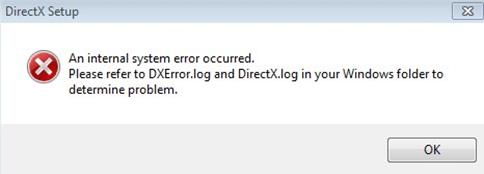 Ошибка directx log. Окно ошибки.