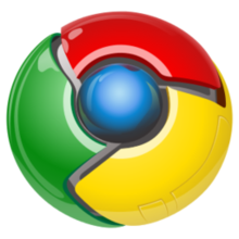 Реклама в браузере Хром. Логотип браузере Google Chrome.