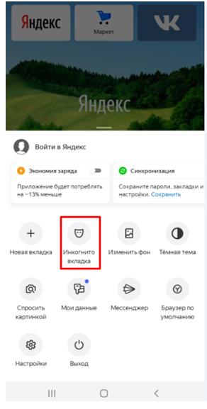 Режим инкогнито в Яндекс на телефоне. Окно выбор вкладки инкогнито.