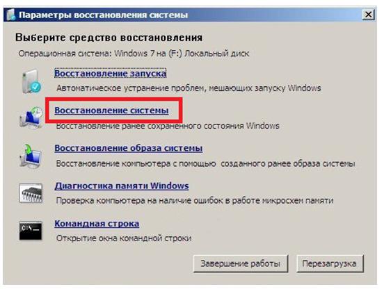 Параметры восстановления Windows 7.